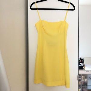 Fame & Partners Yellow Spaghetti-strap minidress